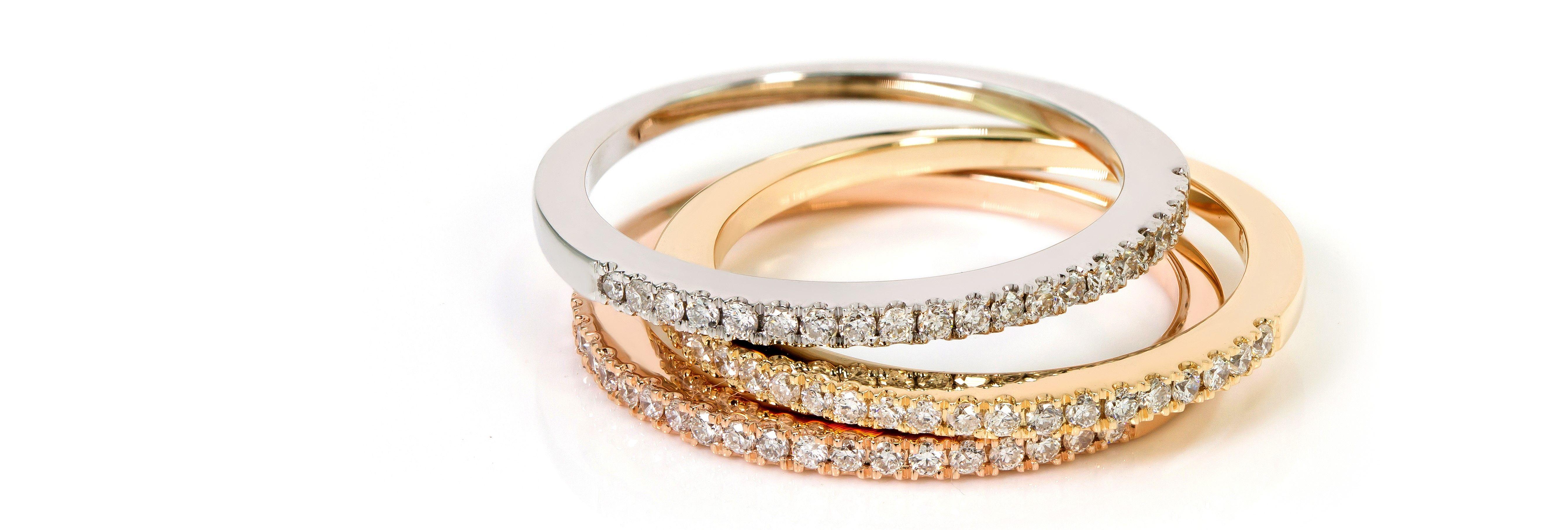 anillos oro blanco, rosa y amarillo.